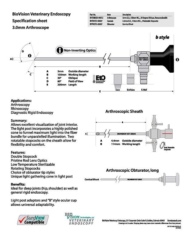 3mm O.D. 150mm W.L. arthroscope
