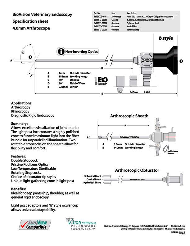 4mm O.D. 185mm W.L. arthroscope