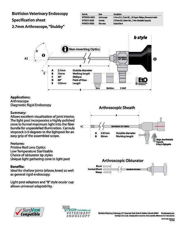 Cannula 50mm W.L. for 2.7mm O.D. arthroscope