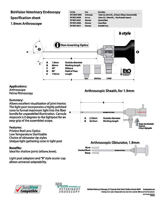 Cannula 140mm W.L. 1 stopcock for 4mm arthroscope