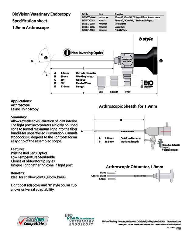 Obturator pyramidal sharp for 1.9mm arthroscope