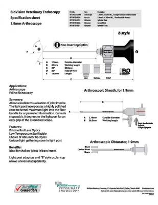 1.9mm O.D. 60mm W.L. arthroscope