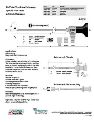 Cannula 105mm W.L. for 2.7mm O.D. arthroscope