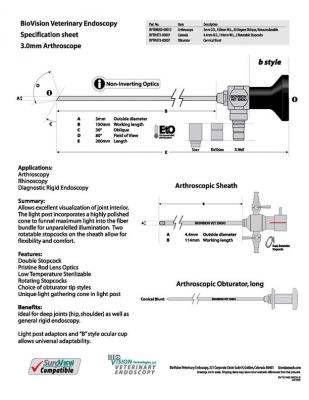 Cannula 114mm W.L. for 3mm arthroscope