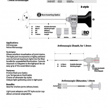 30 Deg. 1.9mm O.D. Arthroscope 60mm W.L. with Cannula and Obturator