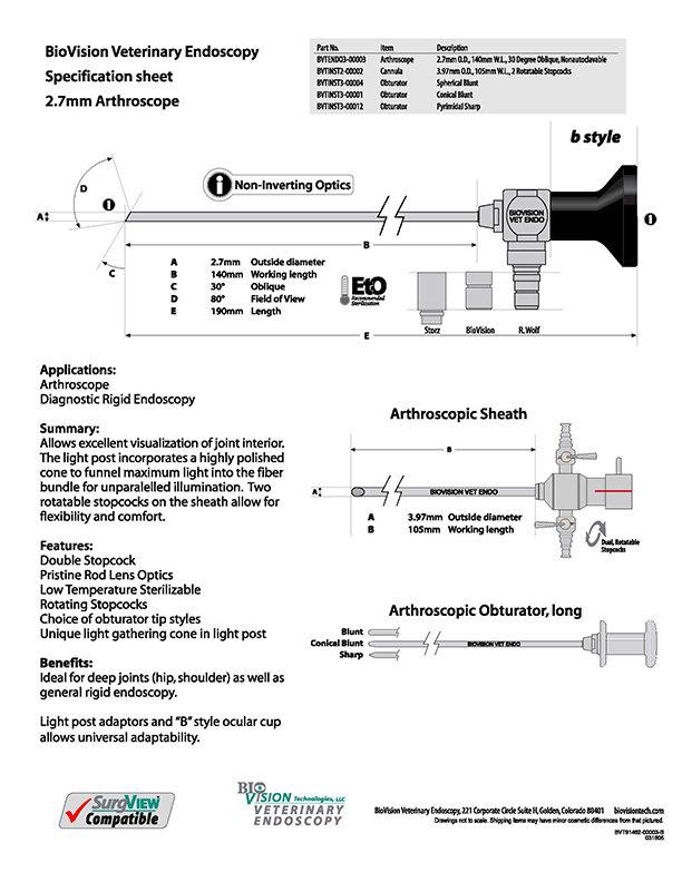 2.7mm O.D. 140mm W.L. arthroscope